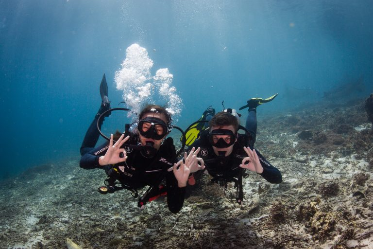 People who discover scuba diving for the first time have a lot of fun underwater.